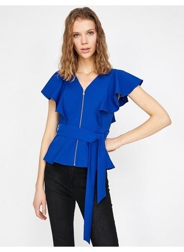 Koton Fermuar Detaylı Bluz Mavi